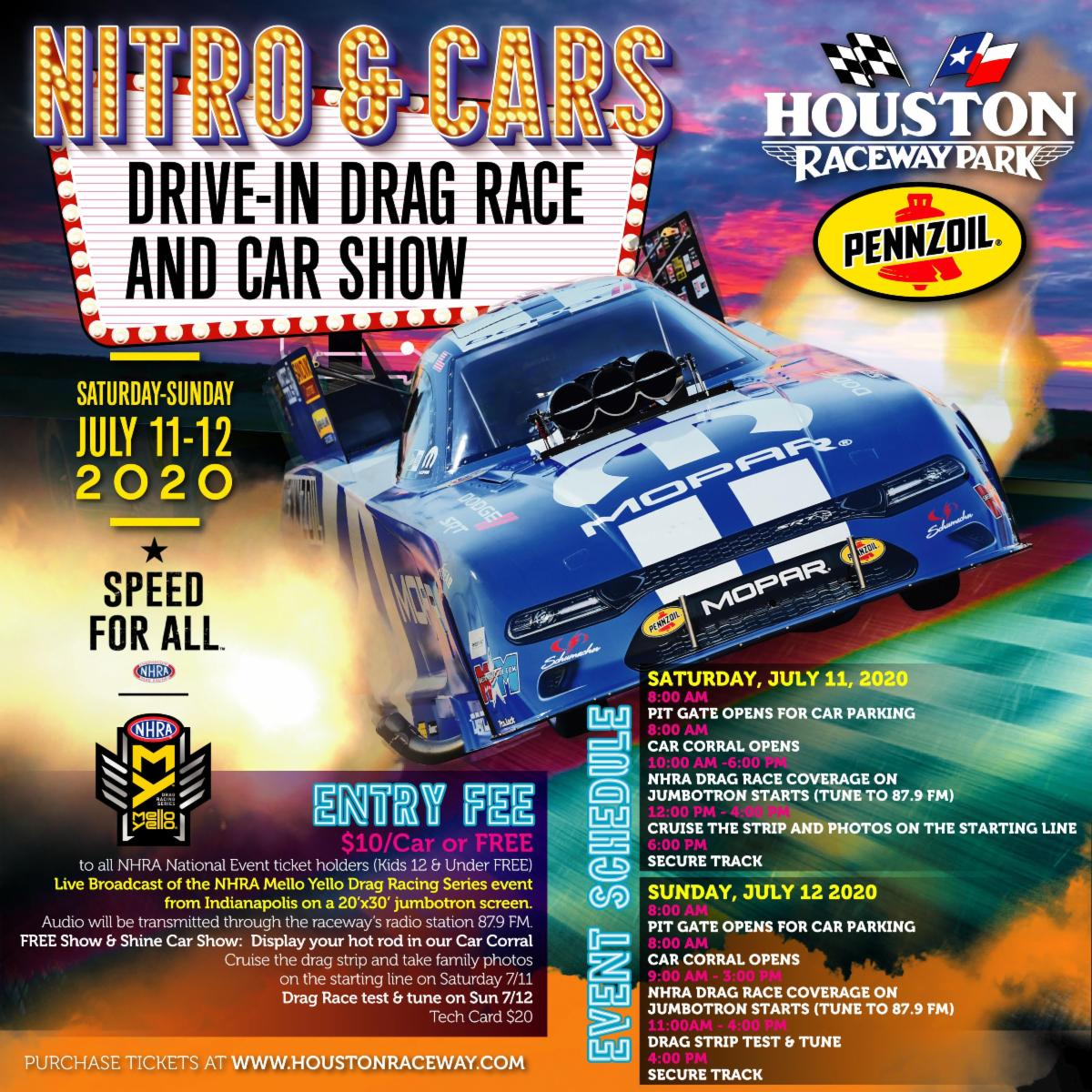 Houston Raceway Park To Transform Into Drive In Theater For First Nhra Race Since Lockdown Dragstory Com